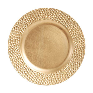 "CP5141: 13"" Gold Pebble Charger Mix Top View"