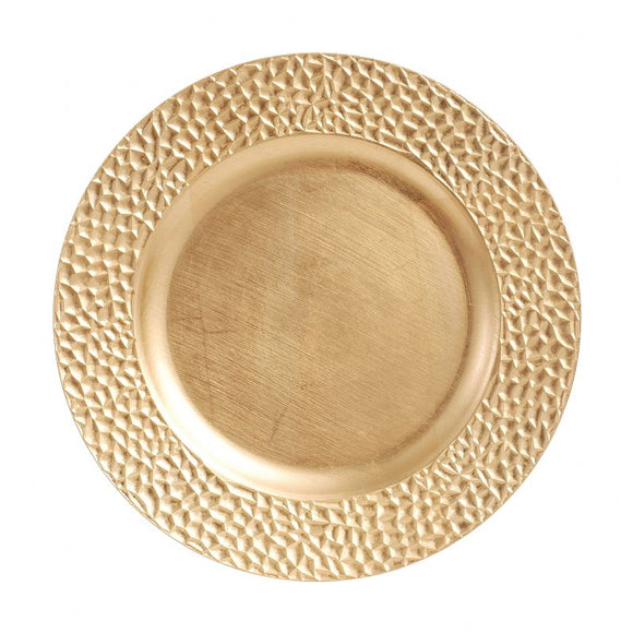 CP5141: Round Gold Pebble Charger Plate 13