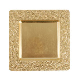 "CP5154: 13"" Gold Square Mosaic Charger Mix Top View"