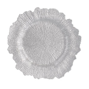 "CP5158: Silver Blossom 13"" White Chinaware Top View"