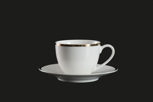RF1033: Gold Rim Cup and Saucer White Top View
