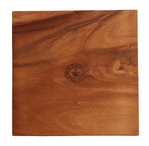 "WP0614: 12"" Footed Square Board Brown Top View"