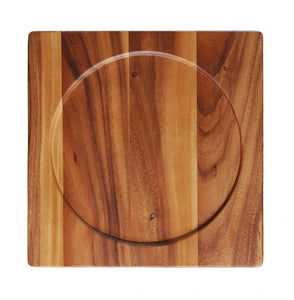 "WP0764: 12.5"" Square Board W/Round Insert Brown Top View"