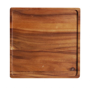 "WP0766: 12"" Square Rim Board Brown Top View"