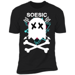 Soesic Ghostman with white decal and stellar background men's short sleeve t shirt