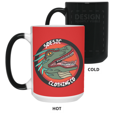 Old School Soesic Raptor Logo 15 oz. Red & Black Color Changing Mug-Soesic Gaming