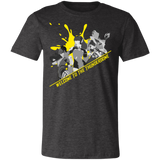 Thunderdome Yellow Splatter Men's Short Sleeve T Shirt ~ DemShenaniganss as a Featured Streamer for Soesic Gaming-Soesic Gaming