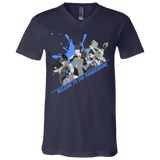 Thunderdome Blue Splatter Men's Short Sleeve V Neck T Shirt ~ DemShenaniganss as a Featured Streamer for Soesic Gaming-Soesic Gaming