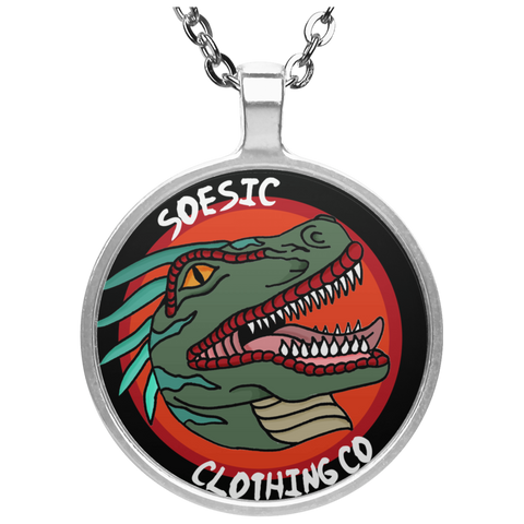 Old School Soesic Raptor Logo Circle Pendant Necklace-Soesic Gaming