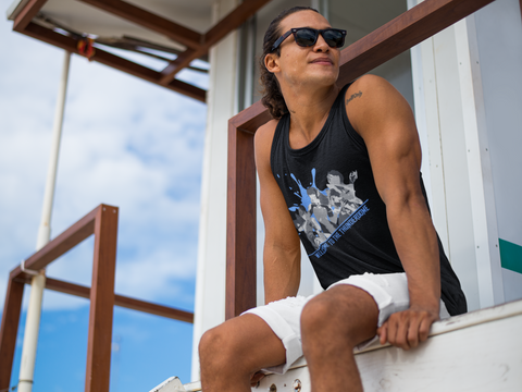 Thunderdome Blue Splatter Men's Tank Top ~ DemShenaniganss as a Featured Streamer for Soesic Gaming-Soesic Gaming