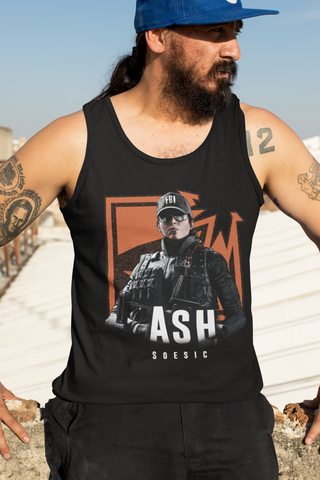 'R6S Ash Badge' Rainbow Six Siege Inspired Men's Gamer Tank Top-Soesic Gaming
