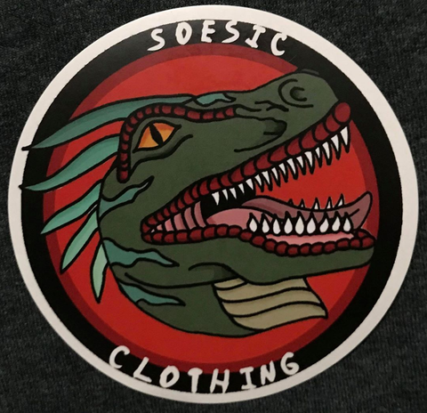 "Old School Soesic Raptor Logo 4"" x 4"" Matte Sticker-Soesic Gaming"