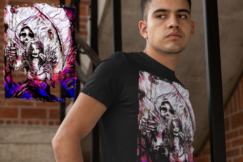 'Grim Reaper & Lost Heroin' Men's Short Sleeve T Shirt ~ Soesic Gaming Featuring Adam Ross Murray-Soesic Gaming