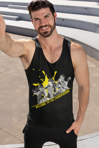 Thunderdome Yellow Splatter Men's Tank Top ~ DemShenaniganss as a Featured Streamer for Soesic Gaming-Soesic Gaming