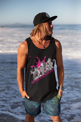 Thunderdome Magenta Splatter Men's Tank Top ~ DemShenaniganss as a Featured Streamer for Soesic Gaming-Soesic Gaming