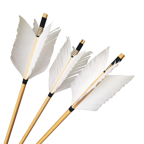Four Feather Flu-Flue Wood Arrows with Selfnock-free shipping