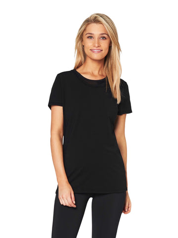 JEAN CHEVRON-REPEAT SCOOPED TEE - BLACK