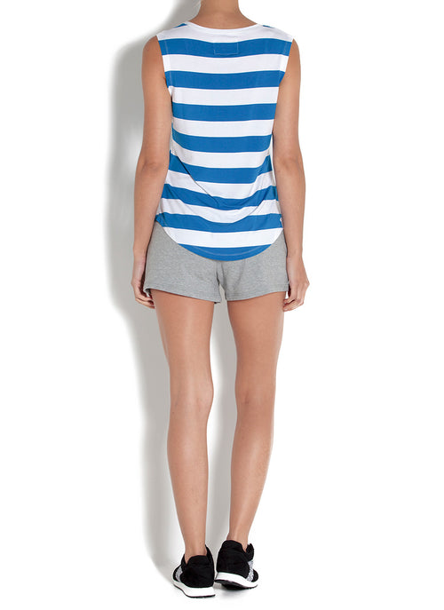 RICHEY STRIPE MUSCLE TEE - ROYAL BLUE
