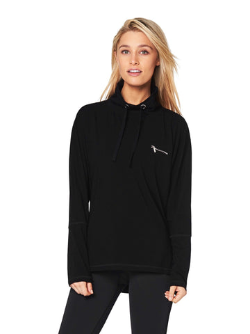 PHOEBE ZIP-COLLAR SWEATER - BLACK