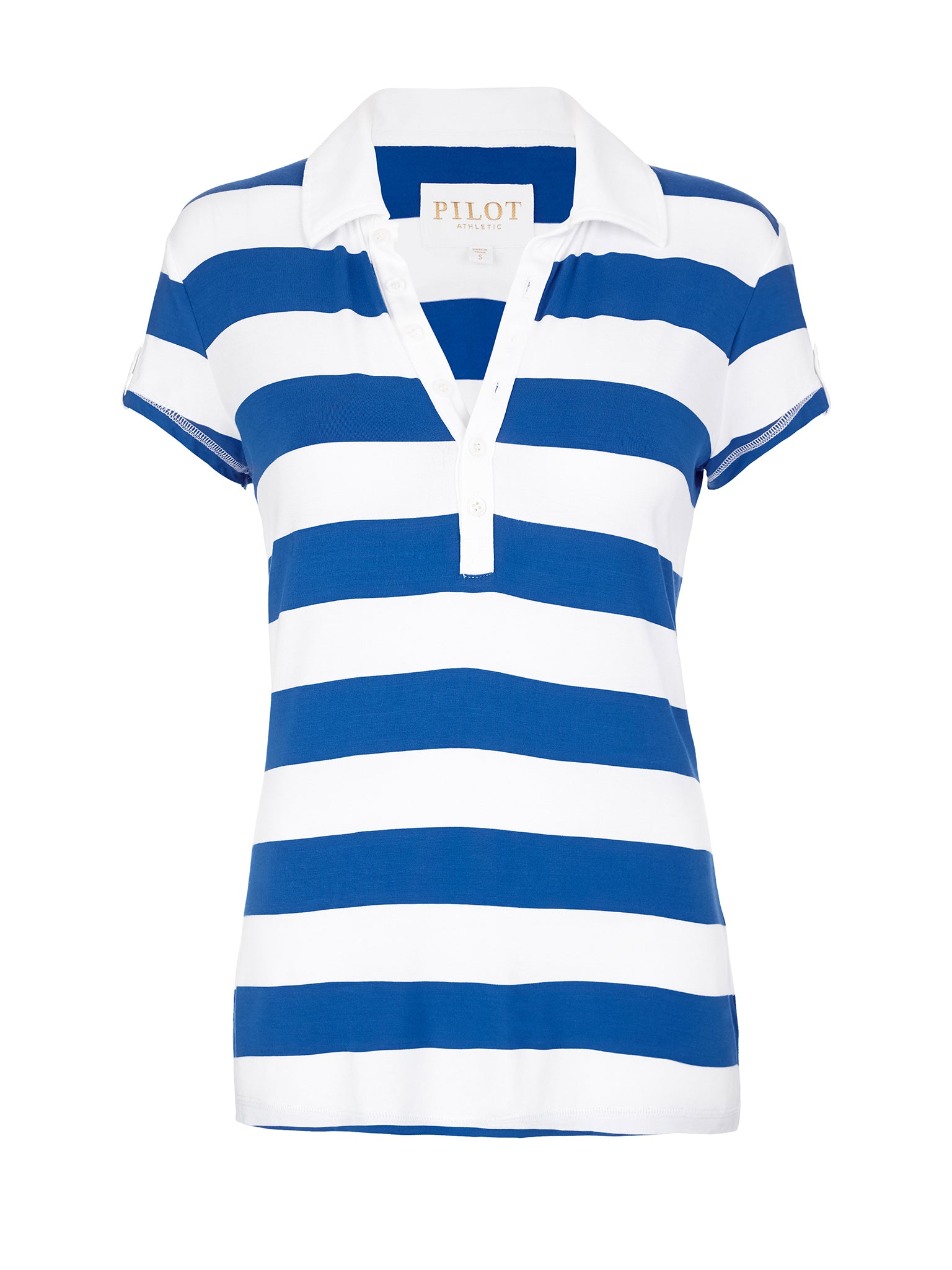 COLEMAN CAP SLEEVE STRIPED POLO - ROYAL BLUE