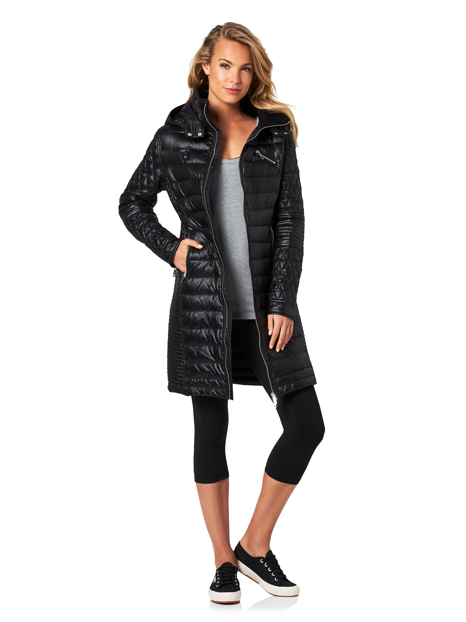 FLORENCE BIKER PUFFER TRENCH - BLACK