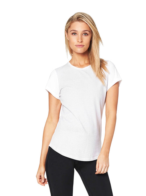 JEAN SCOOP HONEYCOMB TEE - WHITE