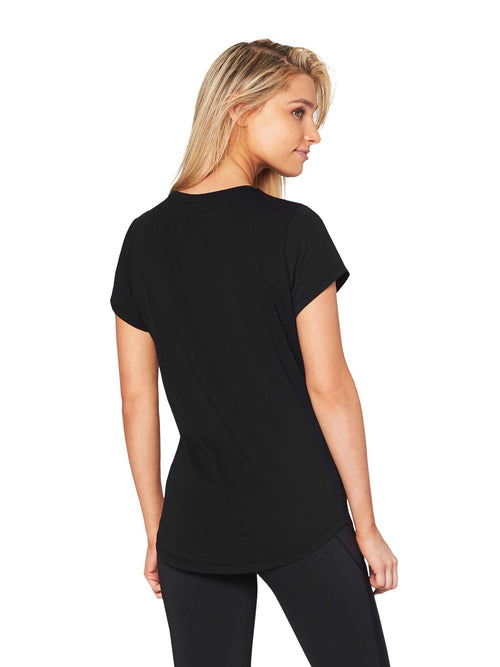 JEAN LOGO SCOOP TEE - BLACK