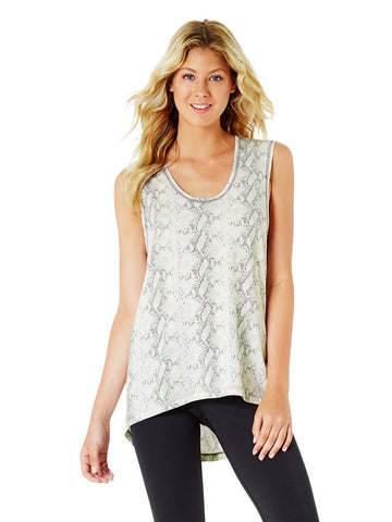 JACQELINE HIGH NECK SINGLET - GREY MARLE