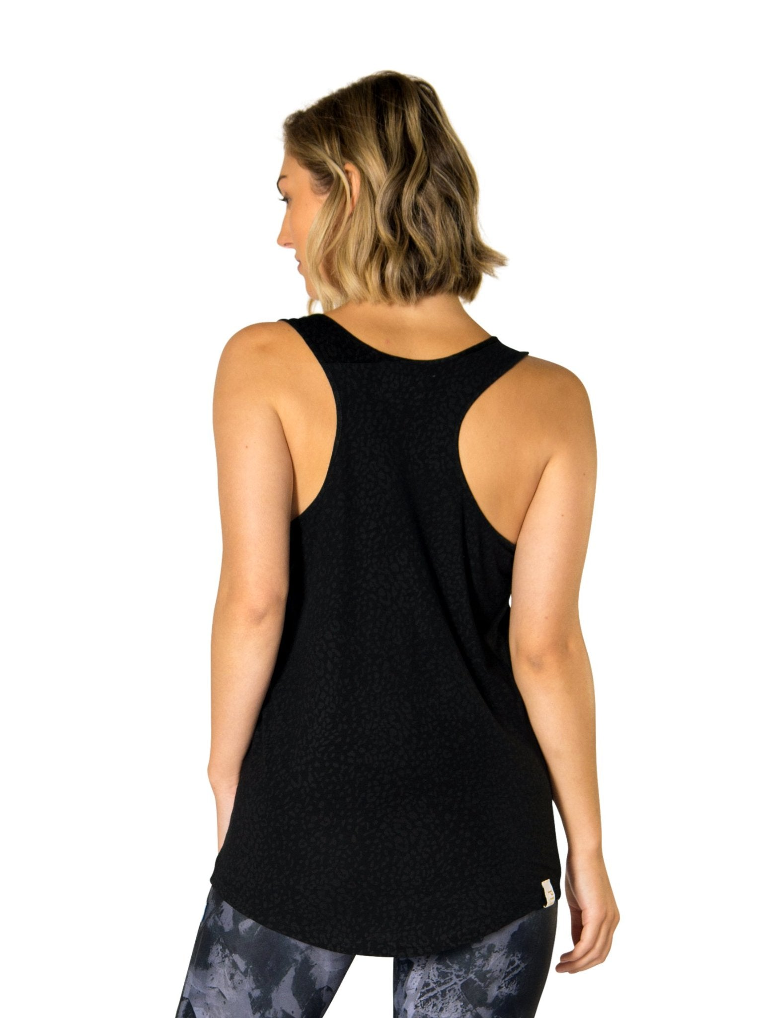 AMY POCKET SCOOP TANK - BLACK LEOPARD
