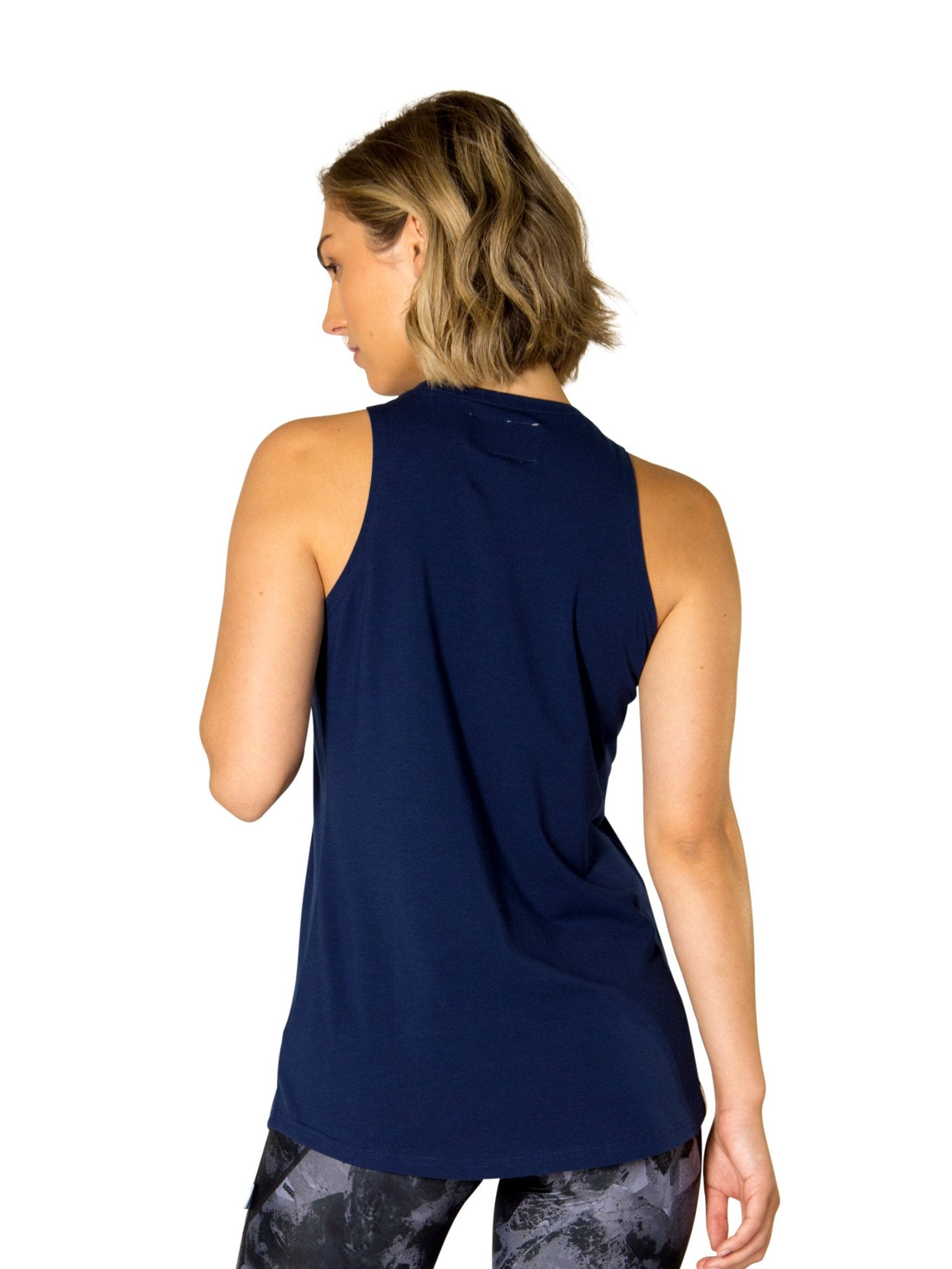 JACQUELINE HIGH NECK SINGLET - NAVY