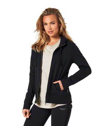 CARTER HOODIE JACKET WITH APPLIQUE - BLACK