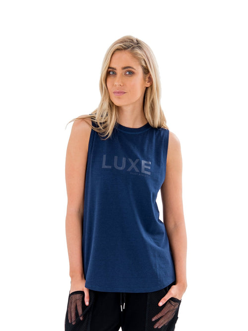 HARKNESS LUXE MUSCLE TEE - BLUE