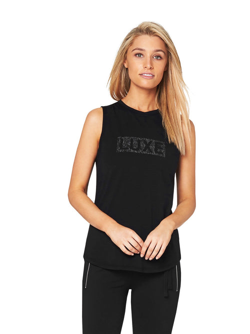 HARKNESS 'CHEETAH STAMP' LUXE MUSCLE TEE - BLACK