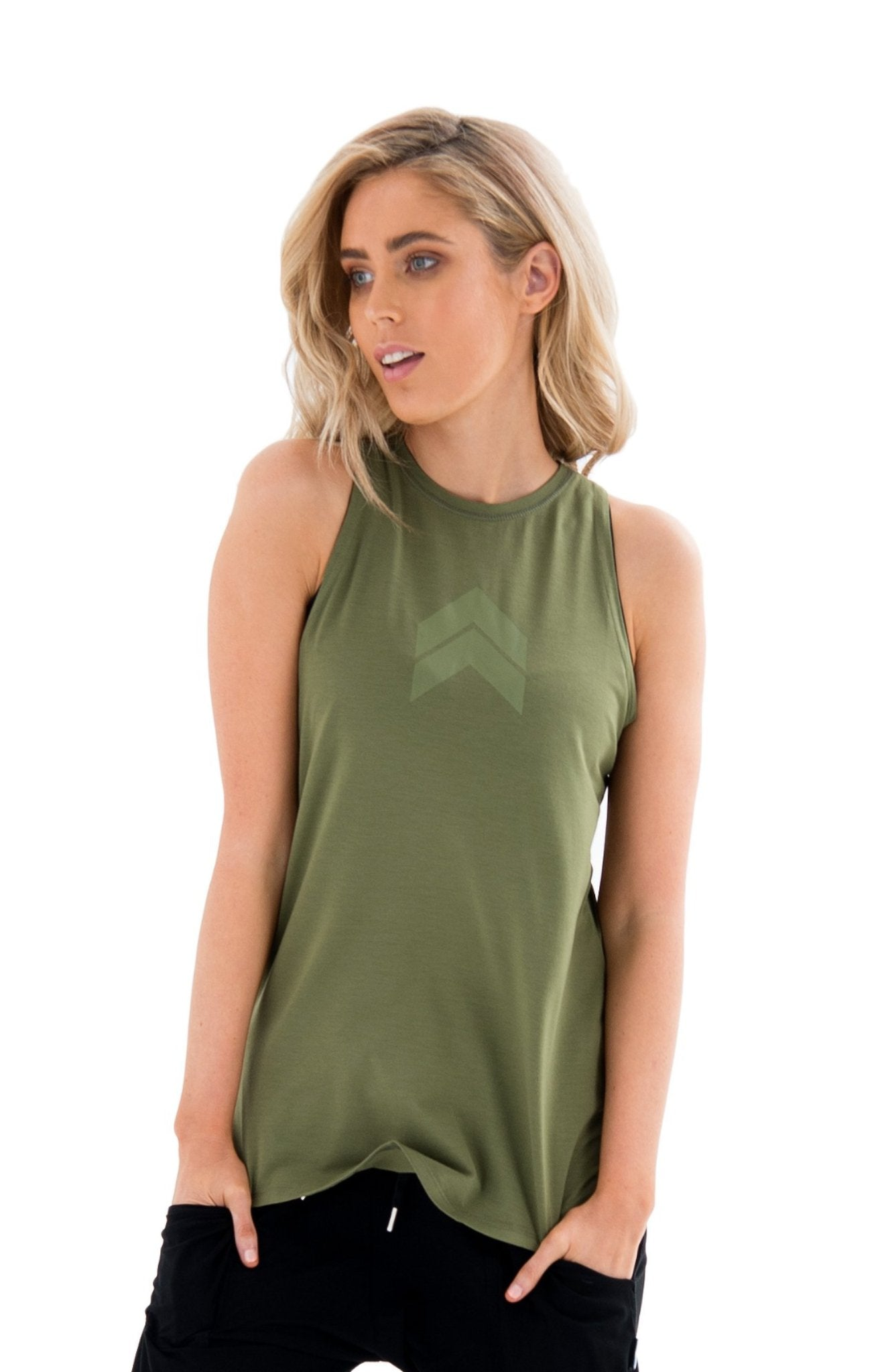 JACQUELINE HIGH NECK SINGLET - GREEN (Green Print)