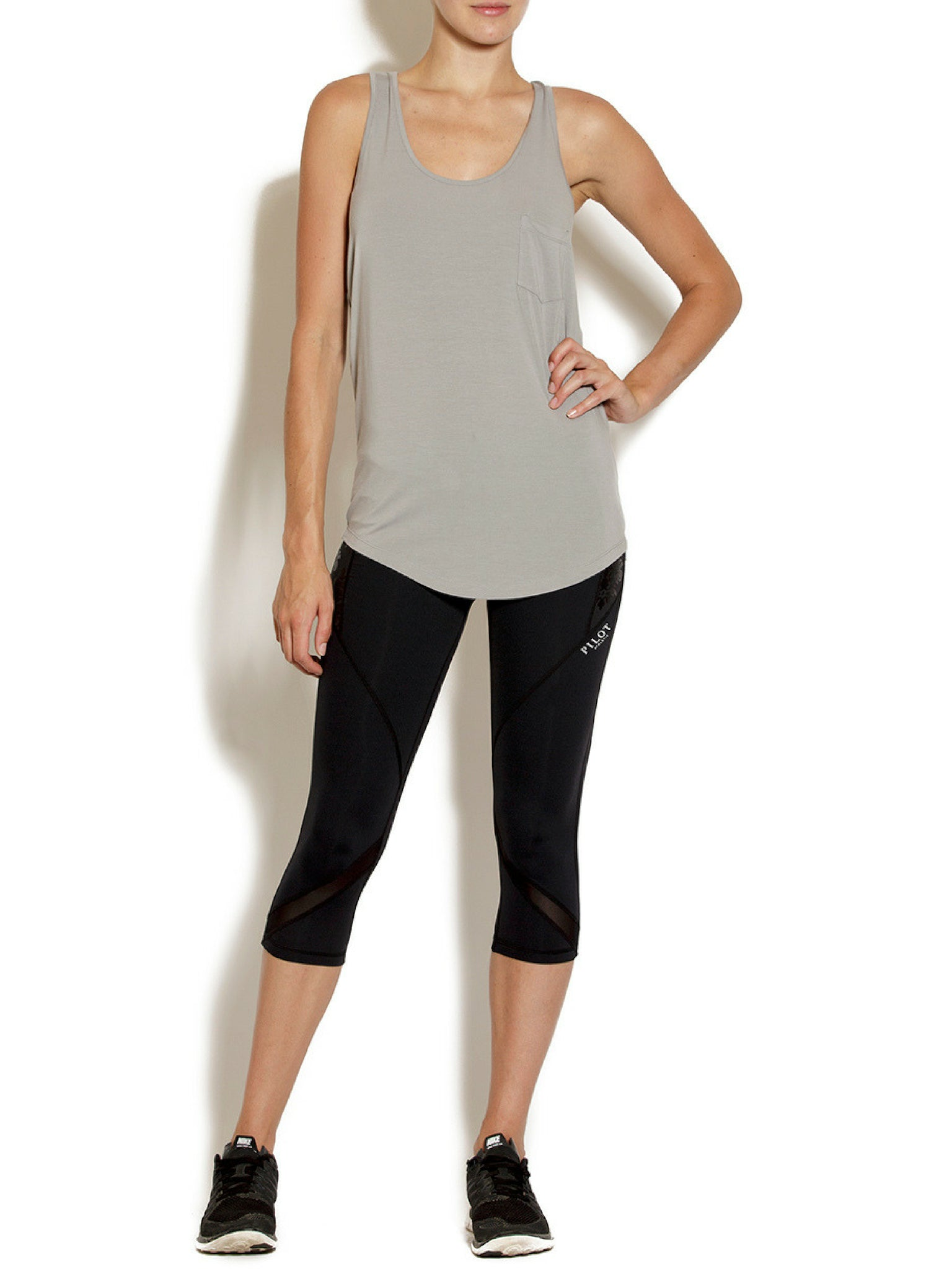 AMY SCOOP TANK - SOLID SILVER