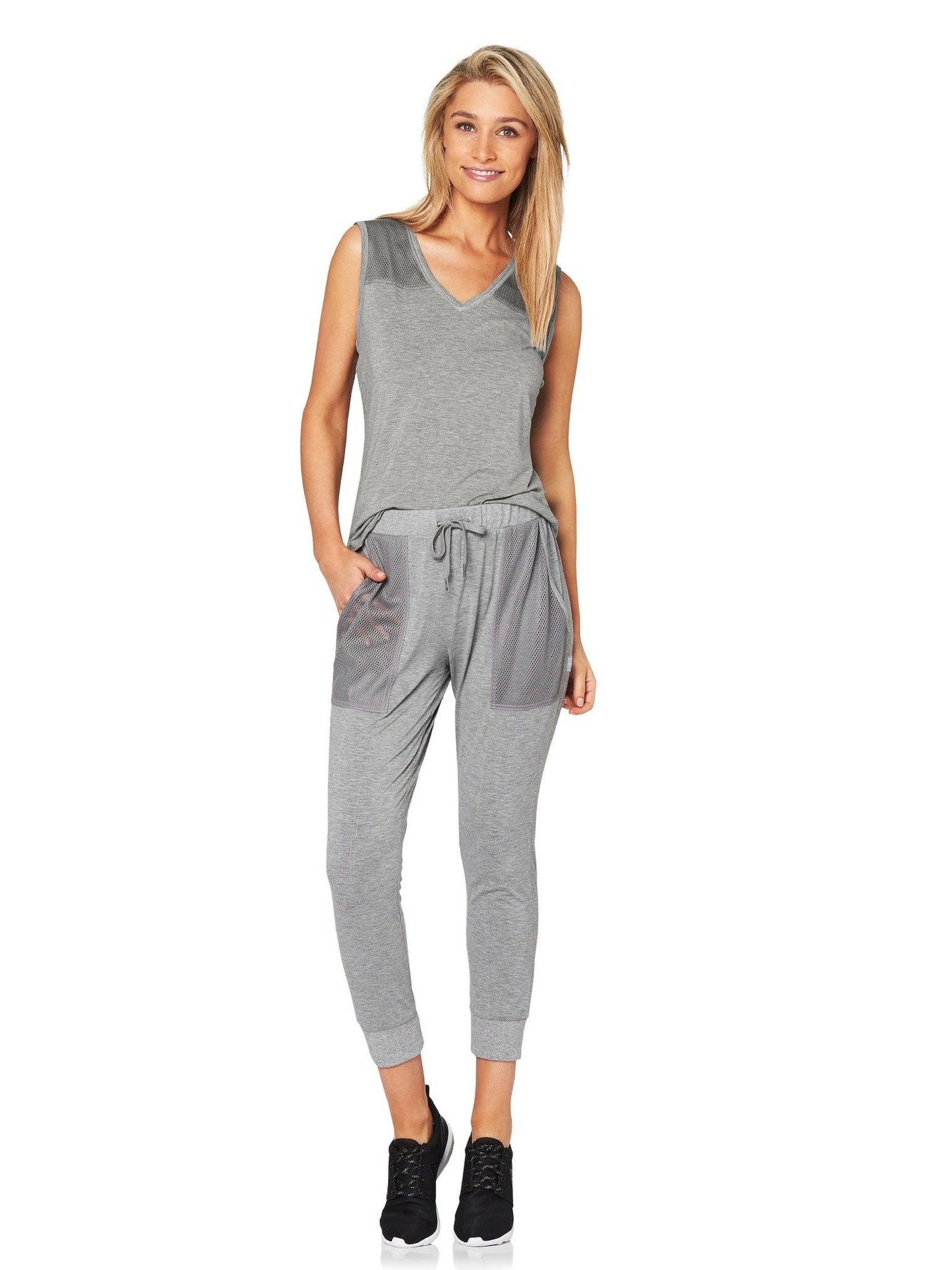 LILLY 3/4 MESH POCKET PANT - GREY MARLE