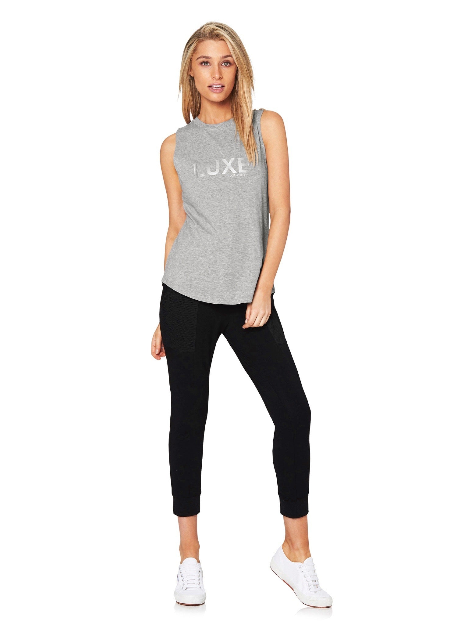 HARKNESS LUXE MUSCLE TEE - GREY