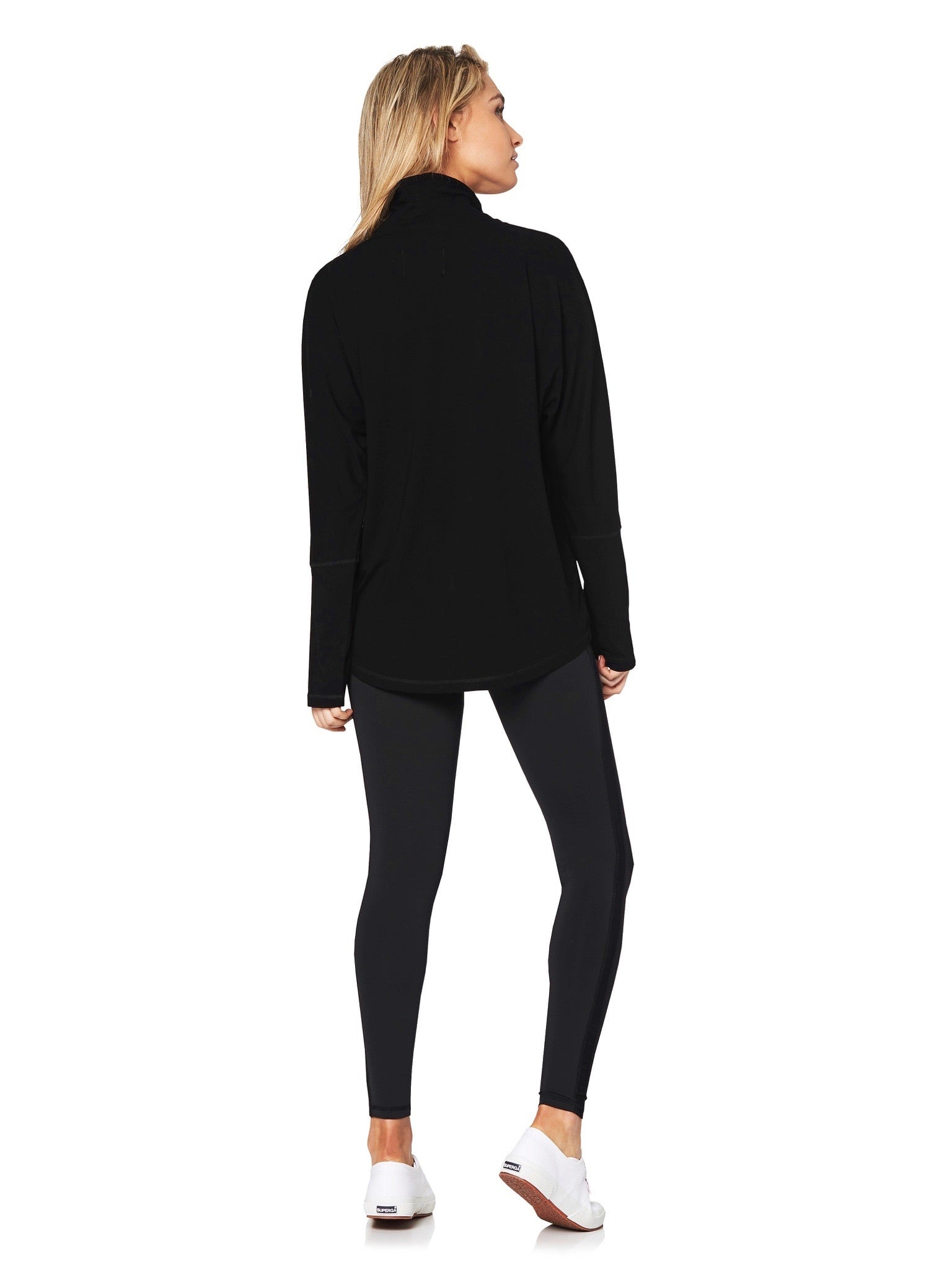 BONNEY TURTLENECK BATWING TEE - BLACK