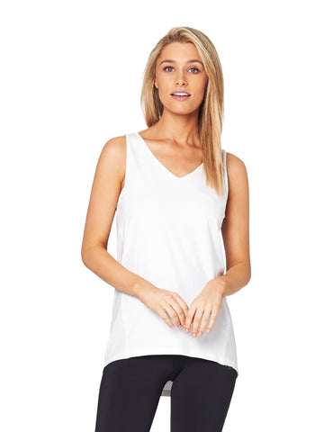 JACQUELINE HIGH NECK SINGLET - WHITE (Black Print)