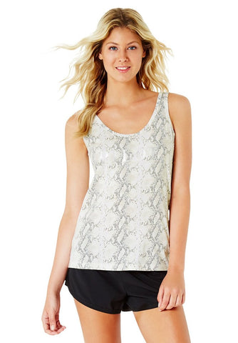 JACQUELINE HIGH NECK SINGLET - BLACK (White Print)
