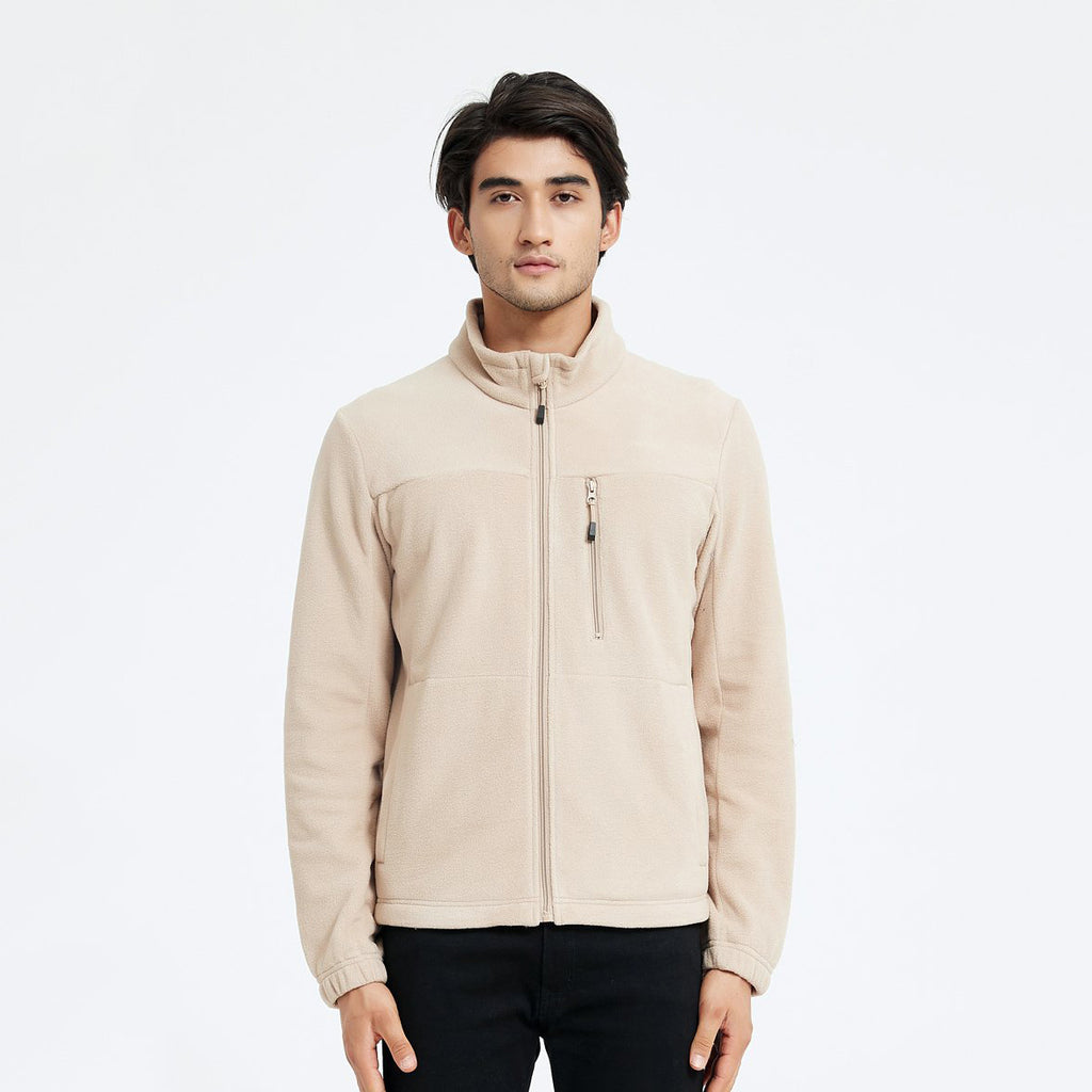 FLEECE JAKKE - BEIGE