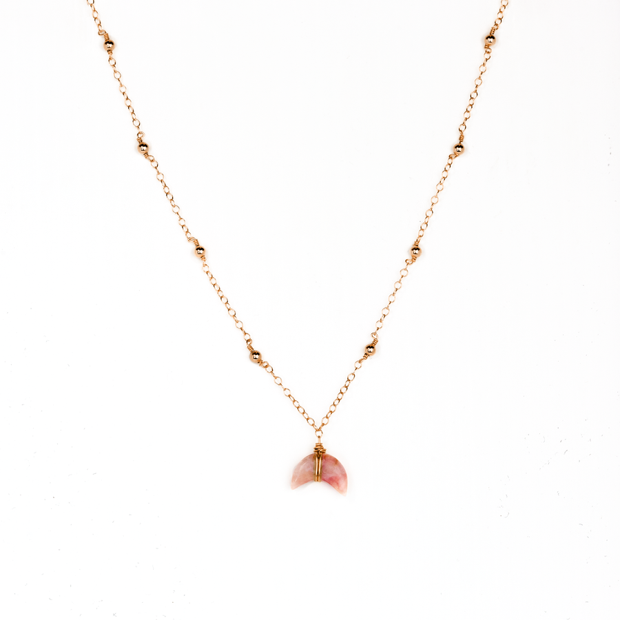 mini moon necklace pink opal - ISHKJEWELS