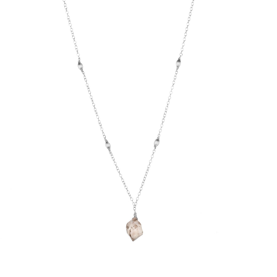 champagne diamond quartz necklace - ISHKJEWELS