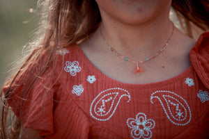 mini moon necklace peach moonstone - ISHKJEWELS