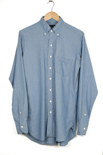 Drake's Bleached Blue Cotton Chambray Button Down Shirt