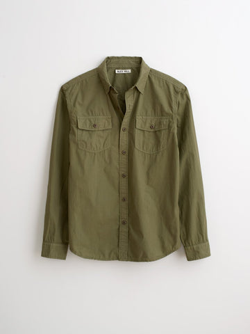 Alex Mill Poplin Pocket Shirt Military Green