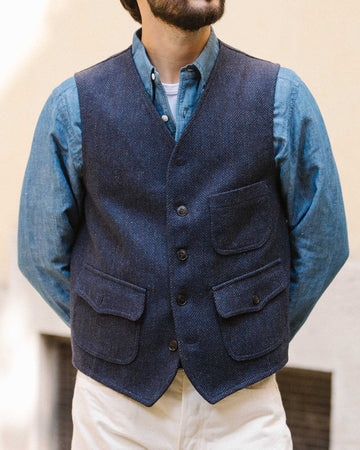 Fortela Prawn Herringbone Wool Tweed Vest