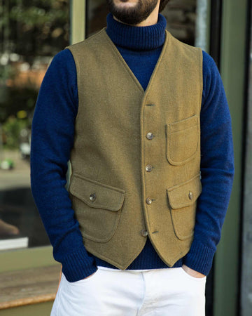 Fortela Prawn Military Wool Tweed Vest
