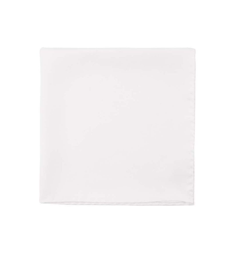 Drake's Silk Twill Pocket Square White