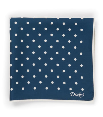 Drake's Silk Twill Spots Pocket Square Navy/White